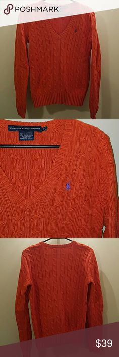 Polo sweater Orange cable knit v neck sweater. Purple pony. No rips or pulls in fabric. Really comfy! Polo by Ralph Lauren Sweaters V-Necks