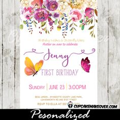 Charming Butterfly First Birthday Invitations Featuring A Frame Of Garden Flowers In Pink And Purple Against White Backdrop With Fluttering Butterflies