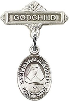 Sterling Silver Baby Badge with St Katherine Drexel Charm and Godchild Badge Pin * Check this awesome product by going to the link at the image.