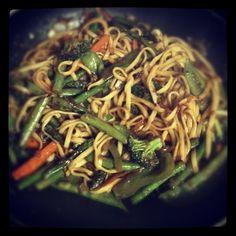 APRIL:  Spicy Szechuan orange stir fry with asparagus, broccoli, pea pods, green pepper, carrots. #vegan #plantpower  (Taken with instagram)