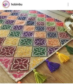 Traditional runner table cloth pattern with Mabel Matiz style rug pattern Silk Ribbon Embroidery, Hand Embroidery, Cross Stitching, Cross Stitch Embroidery, Cross Stitch Designs, Cross Stitch Patterns, Cross Stitch Geometric, Cross Stitch Cushion, Palestinian Embroidery
