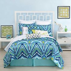 Trina Turk Blue Peacock Duvet Cover, 100% Cotton