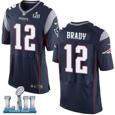 836f3ab45 Nike Patriots 12 Tom Brady Navy 2018 Super Bowl LII Elite Jersey Patriots  87