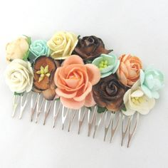 Brown, mint and peach Floral Haircomb Flower Fascinator Vintage Wedding Party Bridal Accessory Bridesmaid statement on Etsy, 141,80kr