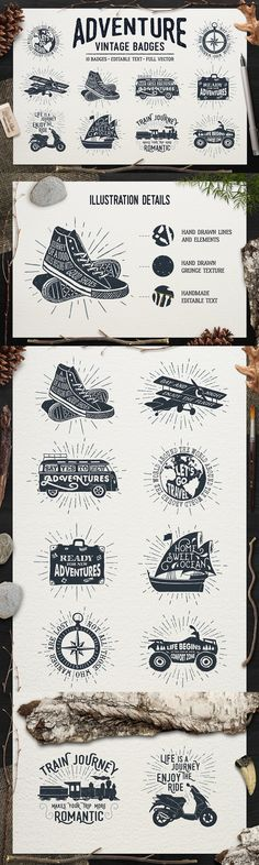 Adventure Vintage Badges 1 - Sloth Astronaut is glad to introduce this hand drawn vector pack titled, Adven...