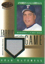 2001 Leaf Certified Materials Fabric of the Game #98BA Andres Galarraga Jsy by Leaf Certified Materials. $7.10. 2001 Donruss/Playoff trading card in near mint/mint condition, authenticated by Seller