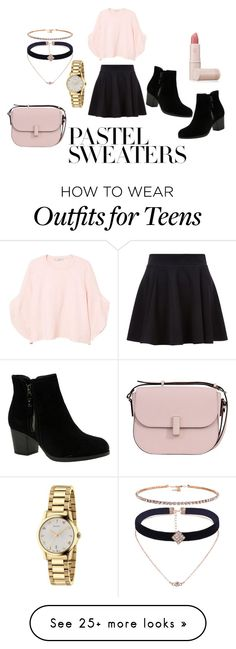 """Pink Pastel Sweater"" by kkutie-5 on Polyvore featuring MANGO, Skechers, Valextra, Gucci and Lipstick Queen"