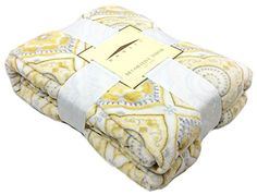 "All Seasons Micro Fleece Diamond Medallions Plush Throw Blanket Oversized 60 x 70"" Gray, Yellow, White Domain http://www.amazon.com/dp/B00VX9X2D4/ref=cm_sw_r_pi_dp_hiopvb1A0A9PT"