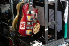 The Manics' guitar collection (note : Welsh flag sticker). Photo: Andy Willsher/NME