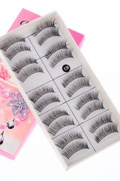 Handmade Natural Soft False Eyelashes (10 Pairs) #romwe
