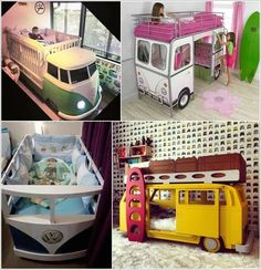 Get a Camper Van Inspired Bunk Bed for Kids and a Crib In Case of a Baby Nursery