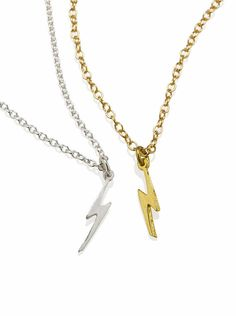 Lightning Bolt Necklace 925 Sterling Silver or 18K Gold