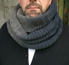 Wool Hooded Scarf, Black Cowl Neck, Infinity Oversize Men's Scarf, Gifts for Men Who Have Everything Crochet Hooded Cowl, Hooded Scarf, Knitted Poncho, Knitted Hats, Mens Infinity Scarf, Poncho Knitting Patterns, Knitting Scarves, Lace Top Dress, Loose Knit Sweaters