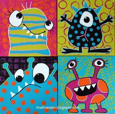 See how students used printmaking to create patterns in these painted monsters.
