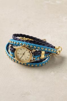 blue leather wrap watch