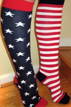 American Flag Knee High Socks PATRIOTIC Mismatched Unisex Shoe Size 6-12 NEW #TopSox #Casual