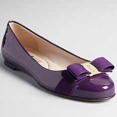 I would love purple flats. I would never pay this much for designer flats, but I love to have a pop of color somewhere. It's just not always easy finding outfits that match the flats. :) Salvatore Ferragamo Purple Varina Flats