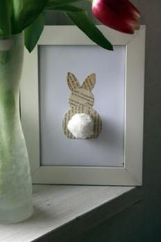 Old book page bunny. Cute spring or Easter decorating idea. Simple Adorable, easy to make. I would use Music sheets.