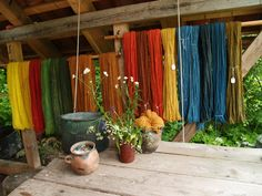 Hand-dyed yarns in an assortment of Iron Age colors. Made at the Weaver's House of Lejre, Denmark.