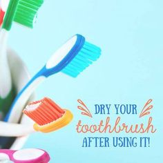 Leaving your toothbrush wet after use can cultivate bacteria. Remember to shake dry before putting it away.