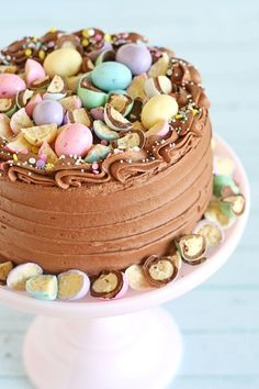 This pretty pastel Chocolate Malt Cake starts with a perfect chocolate cake recipe, then is topped with a delicious chocolate malt frosting!