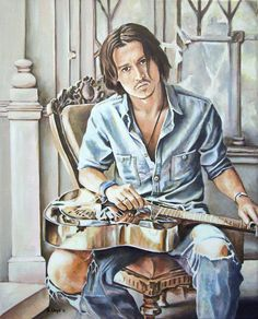 Johnny Depp On Guitar Painting by Andy Lloyd