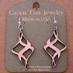 RIBBON TWIRL Green Tree Jewelry NATURAL laser-cut wood earrings made-in-USA 1510 #GreenTreeJewelry #RibbonTwirl