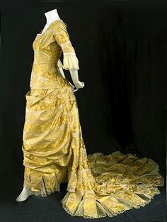 1876 Satin Damask Bustle Gown worn by Harriet Gorman
