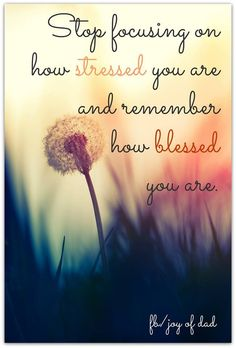 Focus on how blessed you are instead of how stressed you are. Need to remember this. Especially this week!