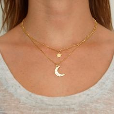 two tone Star and Crescent Moon Gold necklace with embedded white color Zircon beads