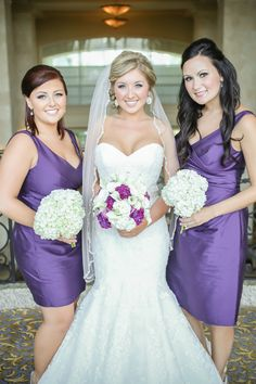 Chelsey & Nick | Wedding in Tampa Bay | White and dark purple bridal bouquet with white hydrangea bridesmaid bouquets. #andrealaynefloraldesign #tampaweddings