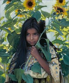 Karen Noles painting of Native American girl and sunflowers