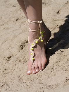 Tan #Beach #Barefoot Sandles with #Neon Yellow Beads by ElvishThings  #footless #feetdecor #footjewelry