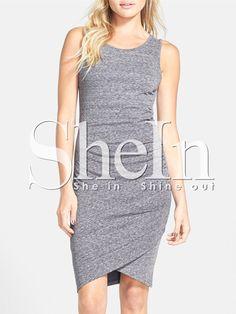 Grey+Knittet+Sleeveless+Ruched+Battenburg+Wrap+Front+Dress+11.99
