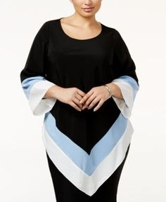 Alfani Plus Size Colorblocked Handkerchief-Hem Top, Only at Macy's - Black 18W
