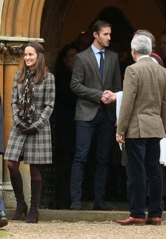 BUCKLEBURY, BERKSHIRE - DECEMBER 25:  Pippa Middleton and James Matthews attend Church on Christmas Day on December 25, 2016 in St Marks' Church in Englefield, Berkshire.  (Photo by Danny Martindale/GC Images) via @AOL_Lifestyle Read more: http://www.aol.com/article/lifestyle/2016/12/25/kate-middleton-prince-william-and-family-attend-christmas-servi/21641812/?a_dgi=aolshare_pinterest#fullscreen