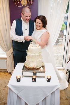 Cutting the cake at Ciara and Cormac's wedding at the Red Door Country House, Fahan, Co. Photo by Donal Doherty Photography. Civil Wedding, Donegal, Wedding Receptions, Vanilla Cake, Doors, Weddings, Country, Red, Photography