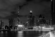 A view of the Dubai city scape from the canal