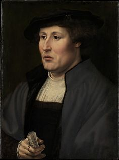 Portrait of a Man  Jan Gossart (called Mabuse)  (Netherlandish, Maubeuge ca. 1478–1532 Antwerp (?))    Date:      ca. 1520–25      Oil on wood, Dimensions:      18 1/2 x 13 3/4 in. (47 x 34.9 cm)