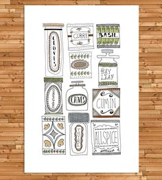 A love of cooking and of vintage cookbooks served as the inspiration for this retro kitchen print.