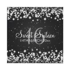 starry night  Sweet Sixteen Party Winter Sparkle Black Invites by Rewards4life