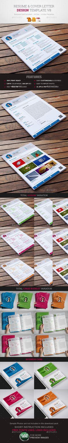 Resume & Cover Letter Template #design Download: http://graphicriver.net/item/resume-cover-letter-template-v8/11719091?ref=ksioks