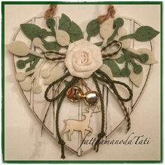 Cuore piccolo di legno con rosa,rametti verdi e bianchi e cervo, by fattoamanodaTati, 23,00 € su misshobby.com