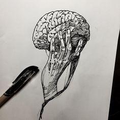 #drawing for work #linework #illustration #brain #hand #handdrawing #pendrawing #ink #blackink #blackwork #tattoo #flash #tattooflash #부산타투 #블러드캔디