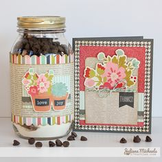 Thank You Jar Brownie Mix Recipe by Juliana Michaels Brownies In A Jar, Brownie Jar, Dyi Crafts, Paper Crafts, Brownie Mix Recipes, Pots, Mason Jar Gifts, Mason Jars, Unique Presents