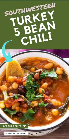Southwestern Turkey 5 Bean Chili - Packed full of ground turkey, beans and delicious southwest spices, this easy chili recipe packs a flavor punch. Ready to eat in one hour!