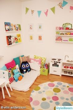 play room decor ideas. I like the mattress on the floor for nap time, etc. on the main level
