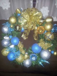 Turquoise,  gold and silver handmade Christmas Reef