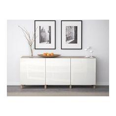 BESTÅ Opberger met deuren - grijs gelazuurd walnootpatroon/Selsviken hoogglans/wit - IKEA