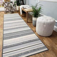 Custom Size Runner Rug Non Slip - Wide x 17 ft Long - Price Drops by Size - Grey Stripes - Non Skid, Rubber Backing for Stair, Hallway, Kitchen - Choose Width x Length Entryway Flooring, Living Room Flooring, Rugs In Living Room, Door Entryway, Kitchen Rugs And Mats, Classic Rugs, Striped Rug, Rug Runner, Home Decor Styles